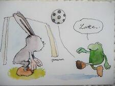 Janosch-- Postkarte-----Frosch und Hase--- Fußballkarte ---TEXT:  LATTE----NEU