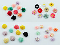 10 Resin Flower Rose Daisy 6-20mm Face gems Embellishment Cabochon Decoden Craft