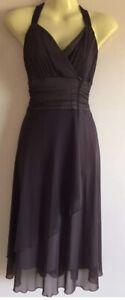 Jacqui-E Dress Size XS 6 Chocolate A-line Layered Size Stretch Sleeveless