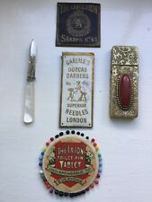 "ANTIQUE ""IXION""TOILET PIN WHEEL/MINIATURE MOP SCISSORS/JEWELLED NEEDLE CASE ETUI"