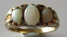Vintage 9ct yellow gold 7 stone opal diamond ring size N 1/2.