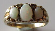 Vintage 9ct yellow gold 7 stone opal diamond ring size N 1/2.