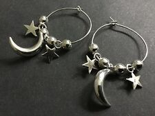 Bijoux interchangeable large 30mm hoop earrings with lucky stars and moon Charms