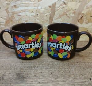 Vintage Smarties Mugs Cups Collectable Brown Nestle 1980's Retro
