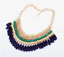Statement Collier Bright Colours Chunky Necklace Choker Necklace Pearls Feather