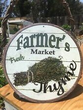Farmers Market Fresh Thyme Round Sign Vintage Garage Bar Decor Old Rustic