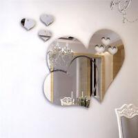 Removable Mirror Love Heart 3D Wall Sticker Decal DIY Home Room Art Mural Decor