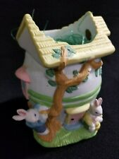 Embossed Ceramic Easter Bunnies Rabbits Egg Shaped House Candy or Egg bowl