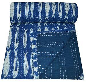 Indian Kantha Quilt Bedding Throw Indigo Fish Print Bedspread Cotton Handmade