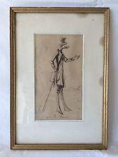 Caricature XIXeme Dessin/Encre sur papier de Charles Joseph TRAVIES DE VILLERS