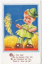 VERA PATERSON - All The Day As Oi Makes The Hay - J Salmon - c1940s era postcard