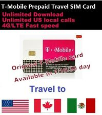 Prepaid T-Mobile 4G sim 15 days unlimited data & call USA Canada Mexico Travel