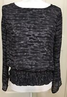 Michael Kors size S Purple Black Long Sleeve geometric Top women's