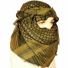 Men's Olive Black Shemagh Arab Scarf Head Wrap Keffiyeh Military SF SAS Cotton