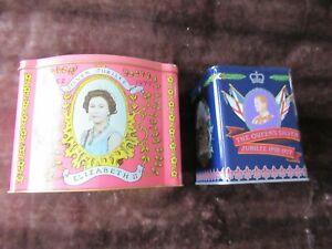 HM Queen Elizabeth & HRH Prince Philip TWO TINS Silver Jubilee 1977 Jacksons Tea