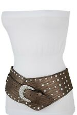 Women Brown Western Fashion Wide Belt Hip Waist Silver Studs Bling Buckle M L