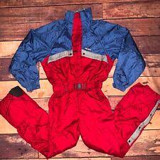 Vtg 80s-90s Red DESCENTE One Piece SKI Suit BIB Snow Retro Snowsuit Men XL (H)