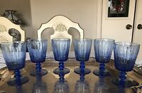 BLUE/CLEAR  BUBBLE CRYSTAL -GOBLET  WATER/WINE -STEM GLASSES -SET OF 6