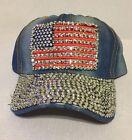 American Flag Patriotic Rhinestone Jeweled Baseball Cap Vintage Denim Washed Hat