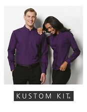 Mens Womens Kustom Kit Mandarin Collar Purple Shirt CLEARENCE