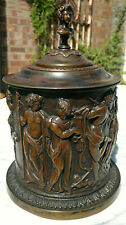 "Antique c1870 Grand Tour Classical Greek Figural Tobacco Jar 9"" Tall"