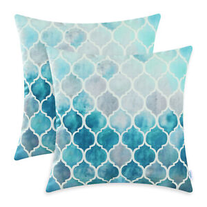 2Pcs Grey Teal Cushion Cover Pillows Shell Colorful Chains Sofa Car Decor 16x16""