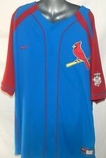 Nike Men's Albert Pujols #5 Cardinal Blue Baseball Button Jersey Size XXL