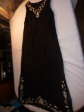 DASH SIZE 14/38 BLACK FULLY LINED SLEEVELESS LONG DRESS WITH CREAM FLORAL TRIM