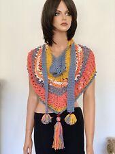 Hand Knits 2 Love Cotton Triangle Shawl Slouch Hoodie Bandana Designer Tassels