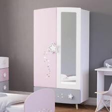 Kleiderschrank Etoiles Schrank Kinderzimmer mit Spiegel matt weiß grau rosa