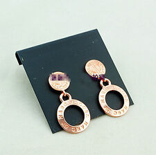 Gold/Silver/Rose Gold/Black Classical  Disk Letters Drop Brand Earrings New