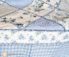 Tagesdecke 220 x 220 Patchwork Plaid Quilt Bettüberwurf blau weiß Nostalgie