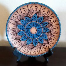 Stunning Mexican Decorative Hanging Plate Red Clay Pottery Copper/Blue Highlight