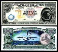 CHATHAM ISLANDS 15 DOLLARS 2001 TYVEK COMM. UNC