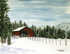 """""""Red Barn Winter"""" 8x10 double-matted Watercolor Art Print by artist Julie Hammer"""