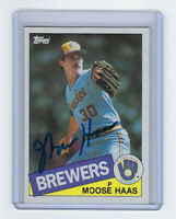 1985 BREWERS Moose Haas signed card Topps #151 AUTO Autographed Milwaukee