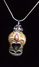 Authentic Mexican Jewelry Folk Art Talavera Ginger Jar Pendant Tile Rustic Cute