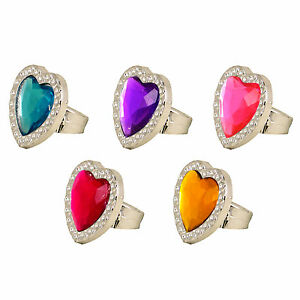 1 6 12 24 HEART PRINCESS JEWEL RINGS GIRLS TOY PRIZES BIRTHDAY PARTY BAG FILLERS