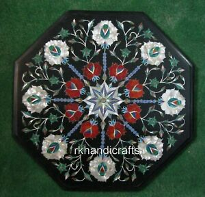 15 Inches Marble Sofa Side Table Top Inlay Coffee Table with Floral Pattern