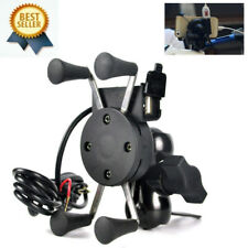 Universal Motorcycle Motorbike Mobile Phone Mount Holder X Grip Clamp USB Charge