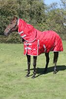 Horse Stable Rug 300GSM Fill Combo Neck Diamond Quilted Rug BLACK NAY RED