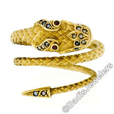 Antique Victorian 18k+ Yellow Gold Detailed Garnet & Seed Pearl Snake Wrap Ring