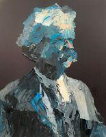 Original - Mark Twain Author Palette Knife Acrylic Portrait Painting Art 11x14