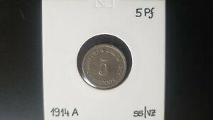 5 Pfennig 1914 A - German Empire - Copper-Nickel - VF