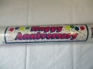 """Bannerz Happy Anniversary Banner 18"""" x 72"""" Signage New Heavy Plastic Grommets"""