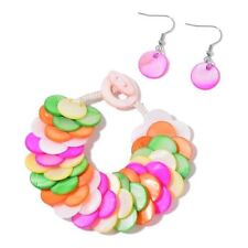 Multi Colour Shell Coin Bracelet (Size 6 to 8) and Hook Earrings in Silver Tone
