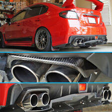 Carbon Fiber 15-18 For SUBARU WRX STI Sedan Rear Exhaust Pipe Cover Pair