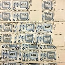 963 American Youth Month. 25 3 cent Plate blocks. Issued in 1948