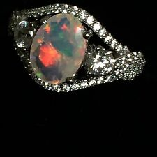 Finest Faceted Ethiopian Opal Ring, Fabulous Sparkles of Multi Color 1.40cts