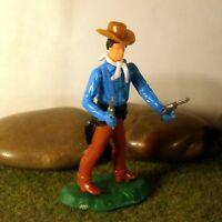 Original Hausser Elastolin 5,6cm Steckfigur beweglich Cowboy/Doppelschütze